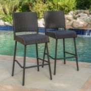 Trestle Outdoors Dark Brown Wicker Barstools (Set of 2)