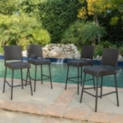 Sandy Hook Outdoors Dark Brown Wicker Barstools (Set of 4)