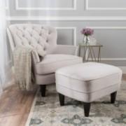 Teton Natural Fabric Club Chair and Ottoman