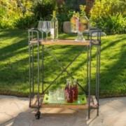 Samara Outdoors Natural Wood Finish Fir Wood and Iron Bar Cart