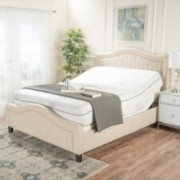 """Fairway White Fabric and Iron Queen Adjustable Power Base with 11"""" Aloe Gel Queen Memory Foam Matress"""