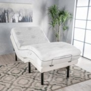 "Mandville White Fabric Twin XL Adjustable Power Base with 11"" Aloe Gel Twin XL Memory Foam Mattress"