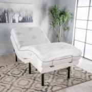 "Mandville White Fabric Twin XL Adjustable Power Base with 11"" Aloe Gel Twin XL Memory Foam Mattress"