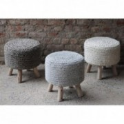Pooneli Hand Knit Wool Fabric Artisan Poof-stool