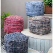 Kamil Recycled Fabric Artisan Cube Pouf
