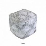 Viraj Artisan Grey Fabric Cube Pouf