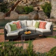 Hatteras Outdoor 5 Piece Grey Wicker Sofa Set with White Water Resistant Fabric Cushions