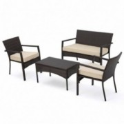 Tahiti Outdoor 4 Piece Multi-brown Wicker Chat Set with Dark Cream Water Resistant Fabric Cushions
