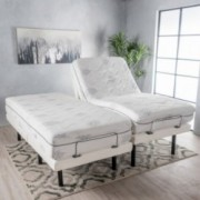 "Ashlin White Fabric and Iron King Adjustable Power Base with Two 11"" Aloe Gel Twin XL Memory Foam Matresses"