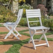 Vicaro Outdoor White Finish Acacia Wood Foldable Dining Chairs (Set of 2)