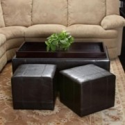 Five Brooks Espresso Brown Leather Ottoman Set (Set of 3)