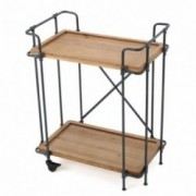 Waldman Antique Finish Firwood And Iron Coffee Cart