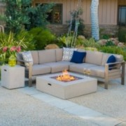 Crested Bay Outdoor Fire Table Sofa Set