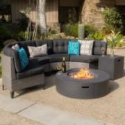 Nessett Outdoor 6 Piece Mixed Black Wicker Half Round Sofa Set With Dark Grey Fire Table