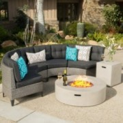 Nessett Outdoor 6 Piece Mixed Black Wicker Half Round Sofa Set With White Fire Table