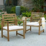 Eveleigh Coastal Outdoor Natural Stained Acacia Wood Club Chair Set Of 2