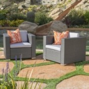 Verin Outdoor Grey Wicker Club Chair With Silver Water Resistant Fabric Cushions Set Of 2