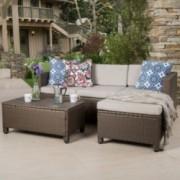 Budva Outdoor L Shape Brown Wicker Sofa W Cushions
