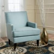 Talette Studded Sky Blue Fabric Club Chair