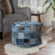 Butterfield Blue Cotton Jean Pouf