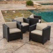 Budva Outdoor Brown Wicker Club Chairs W Cushions Set Of 4