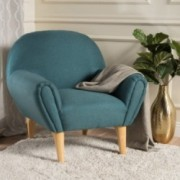 Valby Mid Century Modern Upholstered Teal Armchair