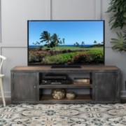 Bayview Antique Black Silver Firwood Tv Stand