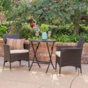 Dorchester Outdoor 3 Pc Brown Wicker Bistro Set W Beige Water Resistant Cushion