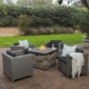 Livingston Outdoor 4 Pc Club Chair Set W Water Resistant Cushions Firepit