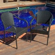 Livingston Outdoor Black Wicker Chair Set Of 2