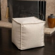 Luther Beige Fabric Cube Pouf