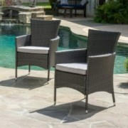 Brascha Contemporary Outdoor Pe Wicker Dining Chairs W Cushions Set Of 2