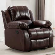 Bonzy Home Overstuffed Recliner Leather Heavy Duty Manual Recliner Chair - Home Theater Seating - Bedroom & Living Room Chair