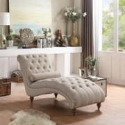Rosevera D7-1 TeofilaTufted Chaise Lounge Chair, Standard, Beige