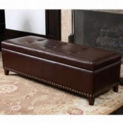 Charleston Brown Leather Storage Ottoman