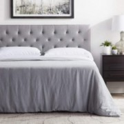 """LUCID Mid-Rise Upholstered Headboard - Adjustable Height from 34"""" to 46"""" - King/California King - Stone"""