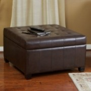 Lyncorn Brown Bonded Leather Storage Ottoman