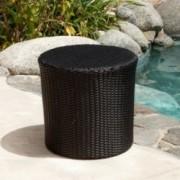 Overton Outdoor Black Wicker Barrel Side Table