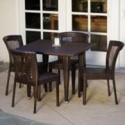 Dana Point 5-pieces Outdoor Patio Brown Wicker Dining Set