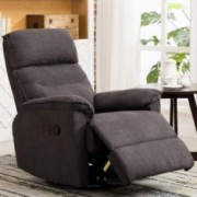 ANJ Swivel Rocker Recliner Chair - Single Modern Sofa Home Theater Seating, Manual Reclining Chair for Living Room, Gray