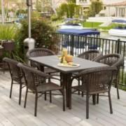 Louisiana 7-Piece Brown Outdoor Wicker Dining Set