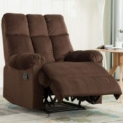 Bonzy Home Overstuffed Fabric Recliner Chair - Heavy Duty Manual Recliner - Home Theater Seating - Bedroom & Living Room Chai