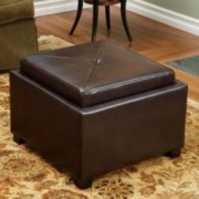 Durban Brown Leather Tray Top Storage Ottoman