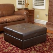 Templeton Brown Leather Storage Ottoman