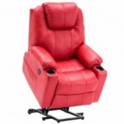 Mcombo Electric Power Lift Recliner Chair Sofa with Massage and Heat for Elderly, 3 Positions, 2 Side Pockets and Cup Holders