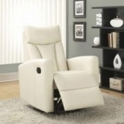 "Monarch Specialties  white  Recliner chair, 30"" L x 30"" W x 41"" H"