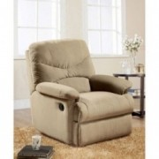 Eshion Wall Hugger Microfiber Recliner Adjustable Chair for Living Room, Multiple Colors  Beige
