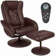 Best Choice Products Faux Leather Electric Massage Recliner Couch Chair w/ Stool Footrest Ottoman, Remote Control, 5 Heat & M