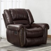 ANJ Leather Recliner Chair Breathable Bonded, Classic and Traditional 1 Seat Sofa Manual Recliner Chair with Overstuffed Arms