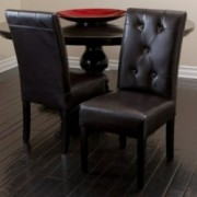 Bedford Tufted Espresso Leather Dining Chairs (Set of 2)